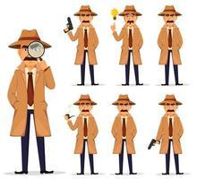 Detective in hat and coat, set. vector