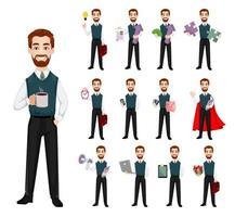 Successful business man, set of thirteen poses vector