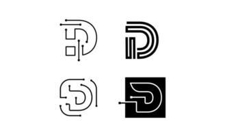 vector de diseño de logotipo de tecnología inicial d