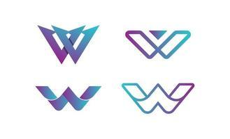 vector de plantilla de diseño de conjunto de logotipo de letra w