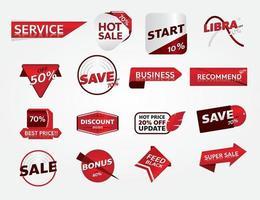 set of red banner promotion tag design for marketing vector