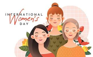 Three cute girls with lettering international women's day vector