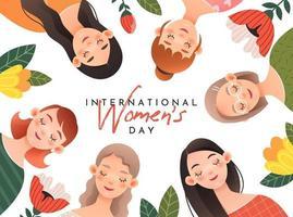 chicas encantadoras en la tarjeta de felicitación para el día internacional de la mujer