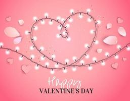 Heart from a garland with petals isolated on pink vector