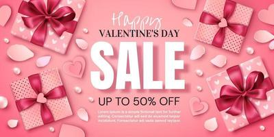 Valentine's day promotion banner with gifts and heart vector