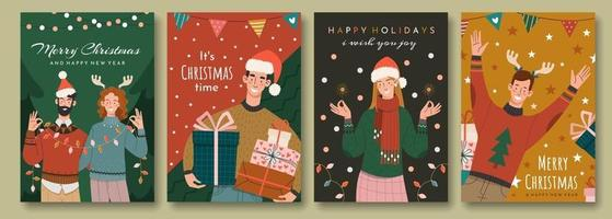 Set of christmas greeting cards in retro style vector