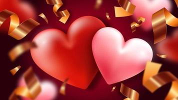 Background with hearts and serpentine vector