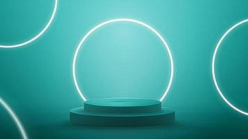 Blue abstract scene with neon white rings. Empty podium with white neon rings on background. vector