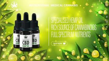 Poster for website with CBD oil black bottles and interface elements of website. Banner for website with CBD oil bottles and Cannabis oil gold bubbles on green blurred background with cannabis leafs vector