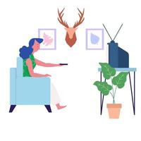 Watching TV in House vector