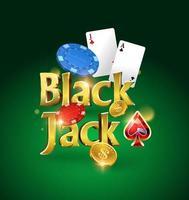 logotipo de blackjack sobre un fondo verde con tarjetas, fichas y dinero. juego de cartas. juego de casino. ilustración vectorial vector