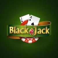 Blackjack logo with green ribbon and on a green background, isolated. Card game. Casino game vector