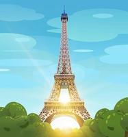 Eiffel Tower in Paris against the blue sky. The sun on the Champs Elysees. Daytime Paris. The daytime sun at the Eiffel Tower. Vector illustration