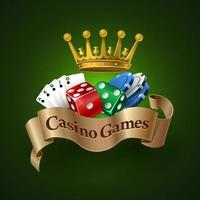 Casino games logo. The best casino games. Dice, cards, chips. Vector illustration
