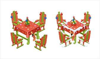 mesa y sillas de año nuevo en vista isométrica. ilustración vectorial. aislado vector