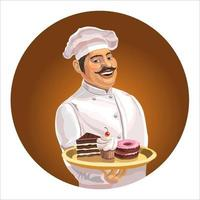 Cheerful cook with a mustache in a cap and with a tray. On a tray are cakes and sweets. Isolated. Vector illustration