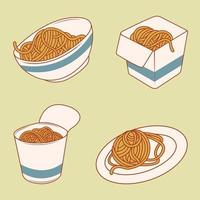 Set of Noodle in box vector
