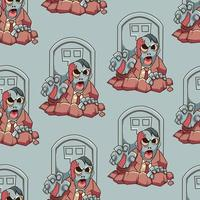 Seamless pattern of Zombie Illustration vector