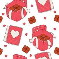 Seamless pattern valentine's chocolate box vector