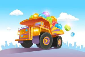 A large, bright truck carries a lot of colorful candies. Lollipop delivery. Vector illustration
