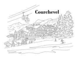 Courchevel in the winter. People are skiing. Ski resort. Vector linear illustration