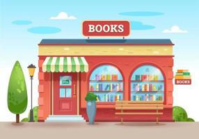 Bookstore with a visor above the entrance. Books in a shop window on shelves. Street shop. Vector illustration, flat style.