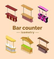 Bar counters in isometric isolated. Vector illustration