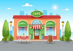 café de verano de la ciudad. Cafetería luminosa en la ciudad con mesa. vector ilustración plana