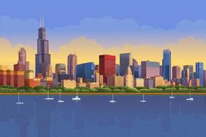 Chicago skyline in sunny sunset reflected in water. Chicago yacht panorama, Vector illustration