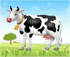 A cow on the lawn. Sunny day. Cartoon cow. Milk from a cow. Vector illustration