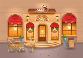 Cafe building in the city. Coffee. Street Cafe. Vector illustration