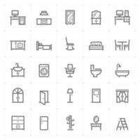 Furniture line icons. Vector illustration on white background.