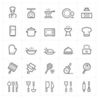utensilios de cocina e iconos de línea de cocina. Ilustración vectorial sobre fondo blanco. vector