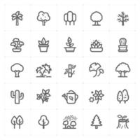 Tree and Natural line icons. Vector illustration on white background.