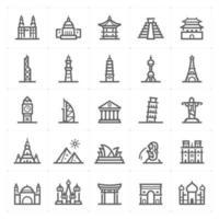 Landmark line icons. Vector illustration on white background.