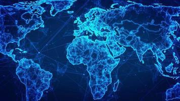 abstraktes Netzwerk-Drahtmodell in einer blauen Weltkarte video