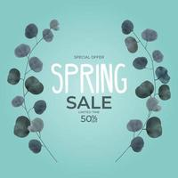 Realistic natural spring sale frame branch leaves eucalyptus background. Vector Illustration