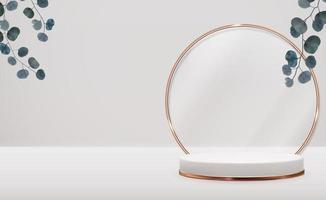pedestal 3d realista con anillo dorado, hojas de eucalipto sobre fondo natural pastel. moderno podio vacío para presentación de productos cosméticos, revista de moda. ilustración vectorial vector