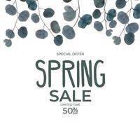 Realistic natural spring sale leaves eucalyptus background. Special offer concept. Vector Illustration