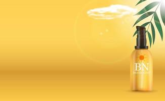 Botella de crema de protección solar realista 3d sobre fondo amarillo soleado con hojas de palmera y nubes. plantilla de diseño de producto cosmético de moda. ilustración vectorial vector