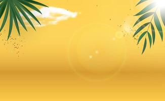 Abstract Palm Leaves Yellow Summer Background. Vector Illustration