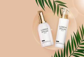 3D Realistic sun Protection Cream Bottle on beige Background with palm leaves and podium. Design Template of Fashion Cosmetics Product. Vector Illustration