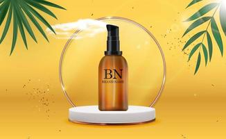 3D Realistic Cream Bottle on Sunny Yellow Background with palm leaves.Design Template of Fashion Cosmetics Product for Ads, flyer, banner or Magazine Background. Vector Iillustration