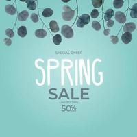 Realistic spring sale leaves eucalyptus background. Special offer concept. Vector Illustration