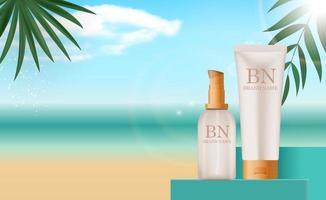 Botella de crema de protección solar realista 3d en el fondo del mar de verano, hojas de palma. plantilla de diseño de producto cosmético de moda. ilustración vectorial vector