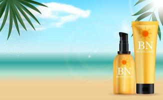 3D Realistic sun Protection Cream Bottle set on Summer Sea Background with palm leaves. Design Template of Fashion Cosmetics Product. Vector Illustration