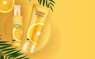Fondo de botella de crema de protección solar realista 3d con hojas de palma y naranja. plantilla de diseño de producto cosmético de moda. ilustración vectorial vector