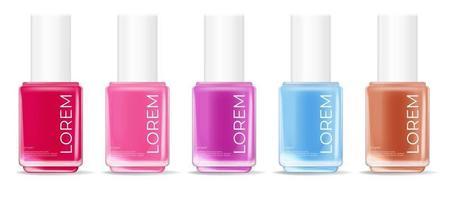 colección de esmaltes de uñas sobre un fondo blanco. plantilla de producto cosmético para publicidad, revista, muestra de producto. ilustración vectorial vector