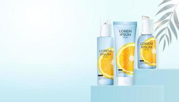 3D Realistic Vitamin C Orange Cream Bottle on light blue Background. Design Template of Fashion Cosmetics Product. Vector Illustration
