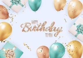 Happy Party Birthday Background with Realistic Balloons, gift box and confetti. Vector Illustration